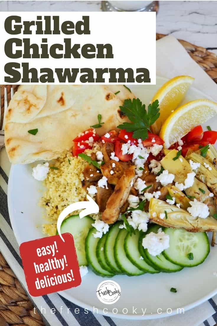 Mediterranean Grilled Shawarma Chicken is chicken marinated in warm, rich spices of cumin, cinnamon, turmeric, curry and paprika This chicken is lean, healthy and grilled to tender perfection. Pair these with fresh Mediterranean ingredients to create a bowl for dinner! We love it with couscous! Recipe via @thefreshcooky | #mediterranean #recipes #easy #healthy #shawarma #chicken #glutenfree via @thefreshcooky
