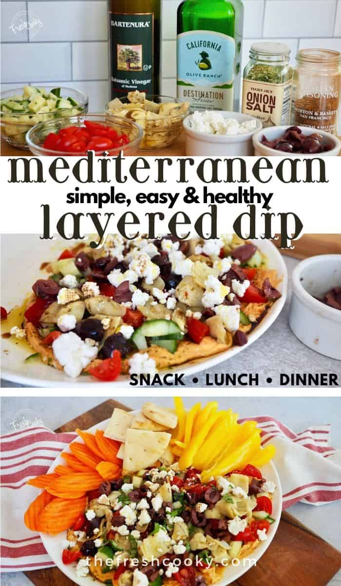HEALTHY & DELICIOUS layered Greek dip with salty feta, creamy hummus and Kalamata olives for a healthy Mediterranean inspired appetizer or snack. Serve with veggies or pita chips as an easy recipe! Recipe via @thefreshcooky | #best #easyrecipes #hummus #layered #lowcarb #appetizer #keto  via @thefreshcooky