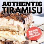 slice of tiramisu dessert on a plate with fork and close up of slice of cake.
