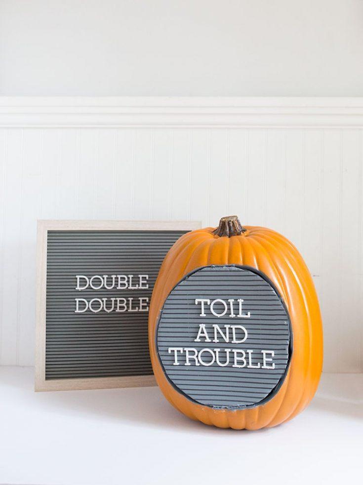 No-Carve DIY Letter Board Pumpkin for Halloween