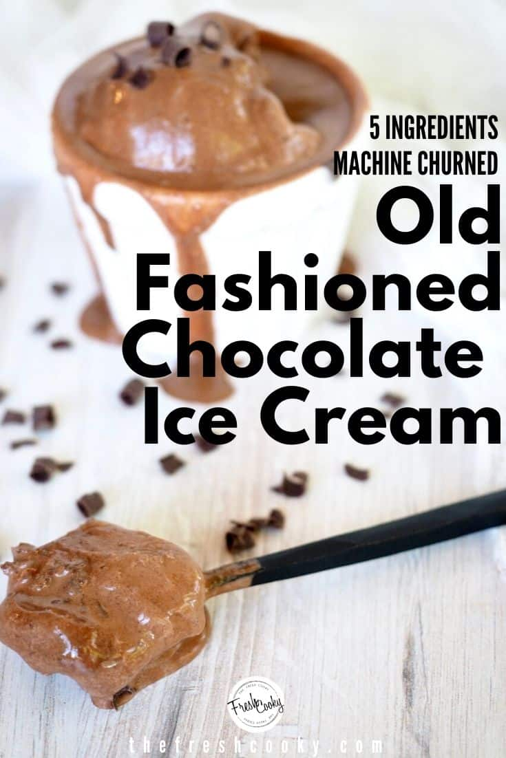 Easy, rich, all natural chocolate ice cream is an old fashioned ice cream recipe using 5 simple whole food ingredients. Creamy, easy and delicious! Recipe via @thefreshcooky | #chocolate #icecream #Homemade #machine #summerrecipes #easyrecipes #churned #glutenfree via @thefreshcooky