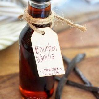 DIY homemade bottle of bourbon vanilla extract with vanilla bean | thefreshcooky.com