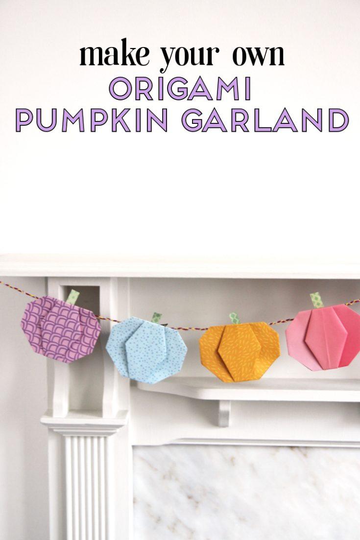 HOW TO MAKE AN ORIGAMI PUMPKIN GARLAND.
