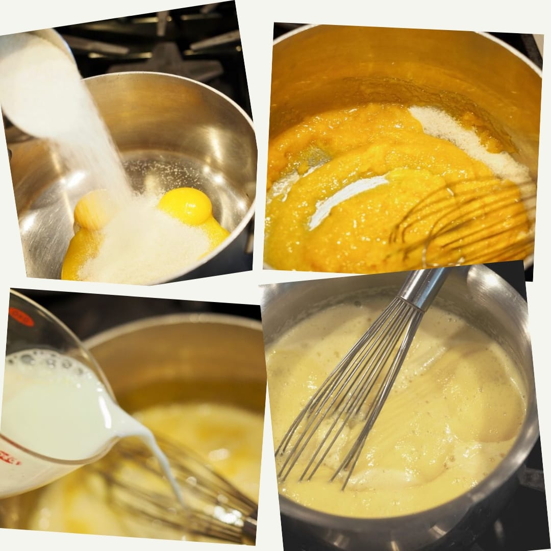 4 images of process shots for making custard for Traditional Tiramisu. Egg yolks and sugar. Whisking the egg yolks and sugar until creamy in a pot, 3rd pouring in milk and whisking until thickened in the 4th picture. Traditional Tiramisu via thefreshcooky.com