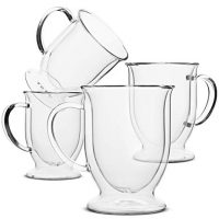 Coffee Mug, Coffee Glass, Set of 4 (12oz, 350ml), Double Wall Glass