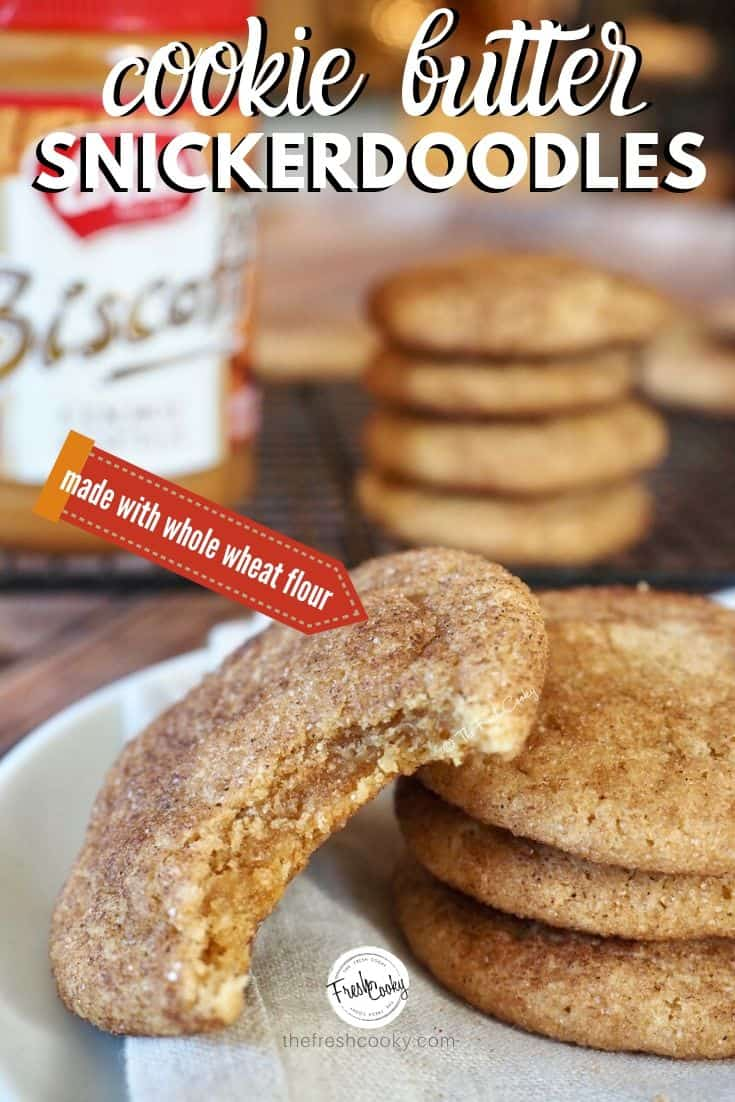 Chewy Cookie Butter Snickerdoodles are a twist on the classic snickerdoodle. This recipe from The Fresh Cooky rolled in a cinnamon-sugar mixture, enhanced with more spices and all around goodness. These cookies are crisp around the edges and soft and chewy on the inside. Via @thefreshcooky #snickerdoodles #cinnamon #sugar #classiccookies #holidaycookies #cinnamonsugar #easycookies #bakingrecipes #cookie #recipes #easybaking #highaltitude #wholewheat #healthier via @thefreshcooky