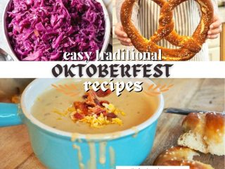 FB image for easy traditional Oktoberfest recipes with beer cheese soup, German pretzels and german red cabbage.
