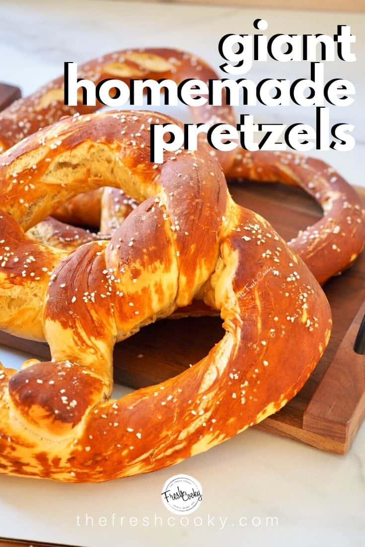 GIANT Traditional German Pretzels from The Fresh Cooky! Soft, delicious, authentic pretzels. Soft, chewy, delicious and much easier to make than you think! High altitude info included, these Bavarian soft pretzels are the best. #thefreshcooky #germanpretzels #laugenbrezel via @thefreshcooky