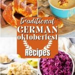 Pin for Traditional German Oktoberfest Recipes with german pretzels, beer cheese soup, apfel strudel and rotkohl or red cabbage.