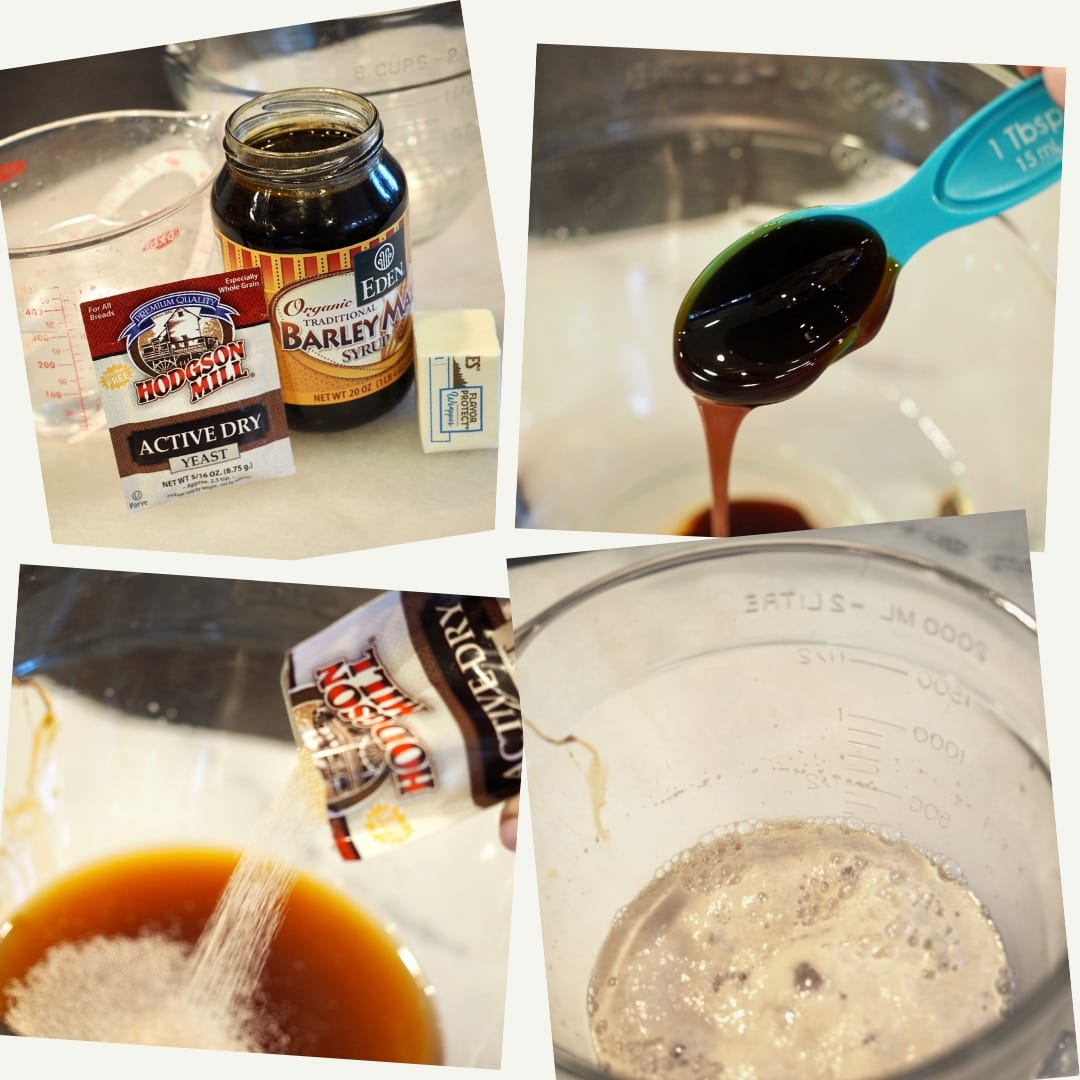 Ingredients basics for pretzels. Active Yeast, Barley Malt Syrup, Butter. 2. Tablespoon of Barley malt syrup. 3. Adding yeast to warm water and barley malt syrup. 4. Yeast bloomed in glass bowl.