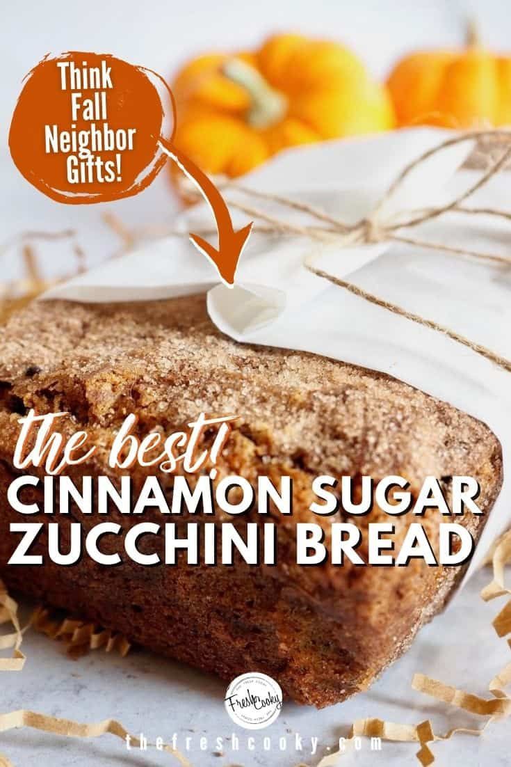 This healthier Snickerdoodle zucchini bread recipe is the perfectly balanced, moist zucchini bread! With browned butter, healthy vegetable oil, whole grain flour and a ribbon of cinnamon sugar and a crunchy, sweet sprinkle of cinnamon sugar on top! High altitude and sea level directions included! Perfect for neighbor gifts, when you have too much zucchini! Recipe via @thefreshcooky | #zucchinirecipes #zucchinibread #quickbread #fallbaking #easyrecipes #snickerdoodles via @thefreshcooky