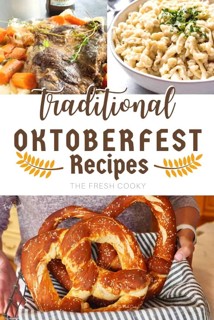 sauerbraten, spaetzle and homemade german pretzels in a pin for Pinterest via @thefreshcooky