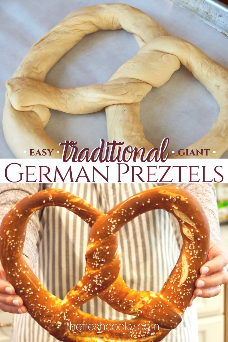 Pin of uncooked and cooked pretzel via @thefreshcooky