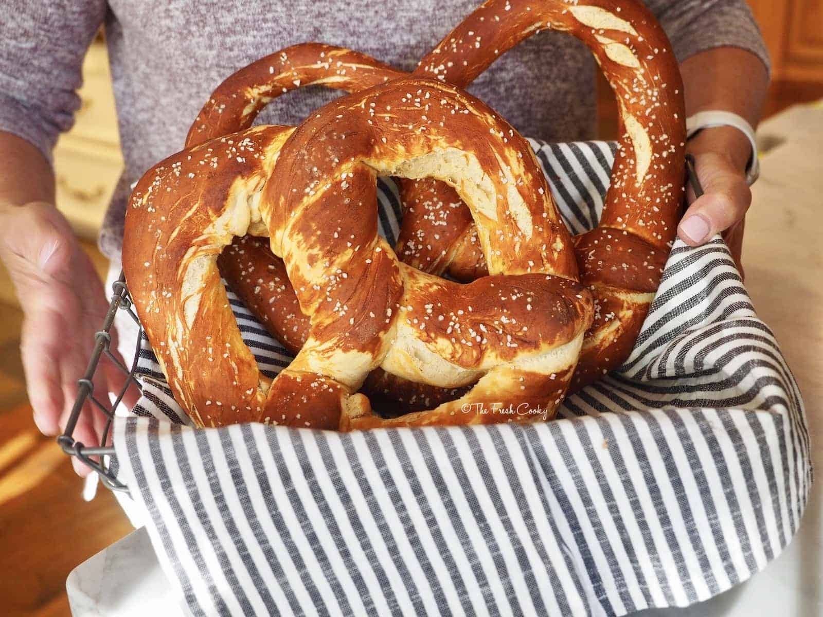 Basket of two Laugenbrezels or German Pretzels via @thefreshcooky