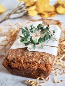 wrapped loaf of snickerdoodle zucchini bread | www.thefreshcooky.com