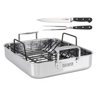 Viking Culinary Stainless Steel Roasting Pan with Nonstick Rack +plus carving set