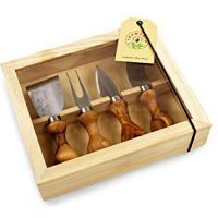 Tramanto Olive Wood Cheese Knives Set of 4 in Gift Box