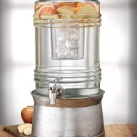Breeze Glass Beverage Dispenser with Base Metal Stand  2.4 Gallons