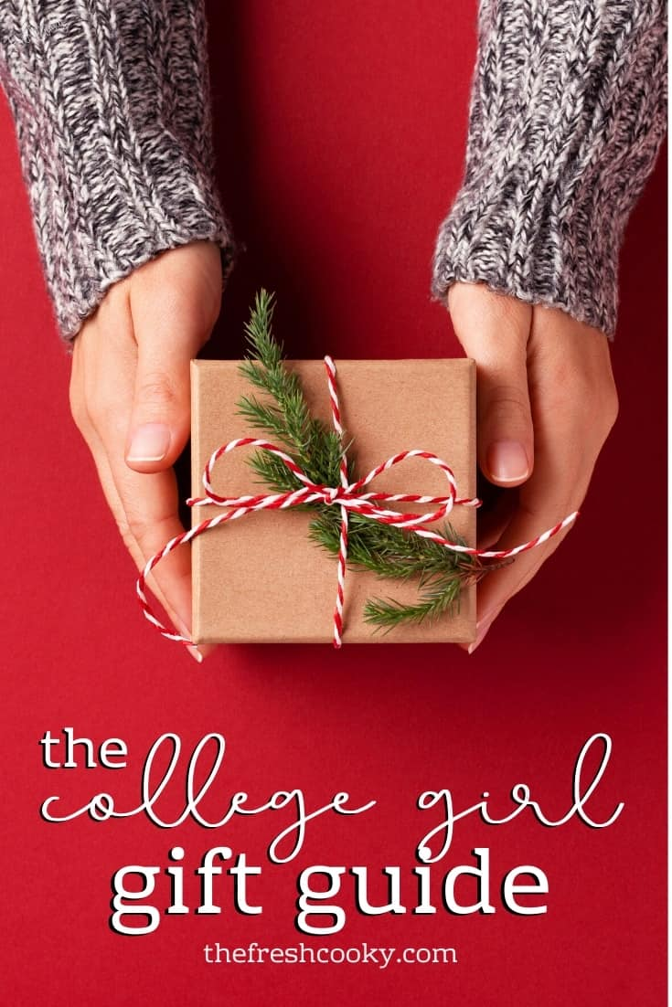 hands with a gift Pin for the College Girl Gift Guide.