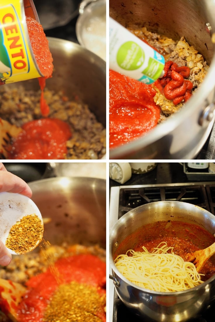 Process shots for baked spaghetti pie 1) adding sauce to browned beef 2) adding tomato paste to beef mixture 3) adding italian spices and 4) stirring in spaghetti into meat sauce.