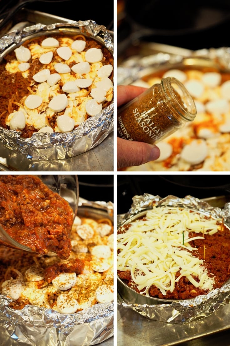 Process shots for baked spaghetti pie adding additional cheese. 2) sprinkling on a little more Italian seasoning 3) pouring the balance of the sauce 4) adding shredded mozzarella cheese.