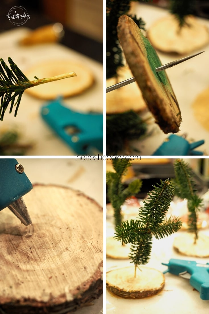 How to shots of how to make a mini Christmas tree | thefreshcooky.com