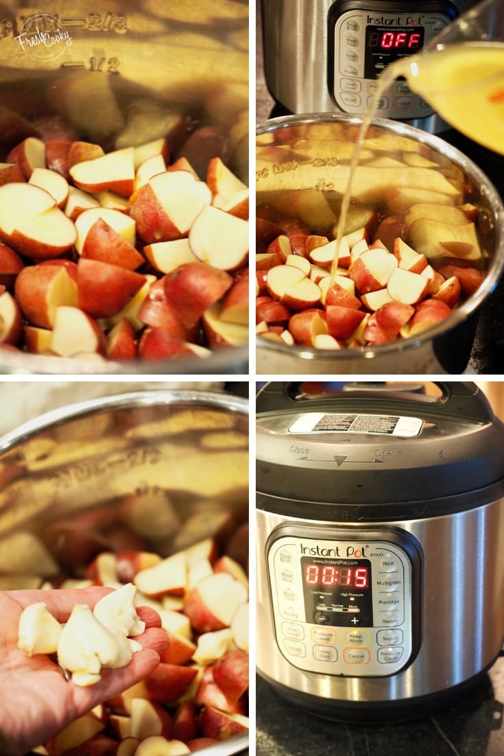 4 images left to right. Cut up red potatoes inside instant pot. Pouring in chicken broth with Instant Pot in background. 3rd smashed and peeled garlic cloves going into Instant Pot. Last pictures Instant pot set to 15 minutes.