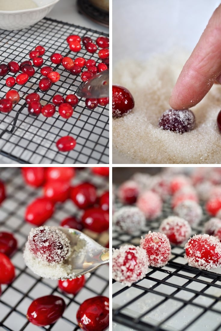 Process shots of sugaring cranberries, rolling, dipping and drying | thefreshcooky.com