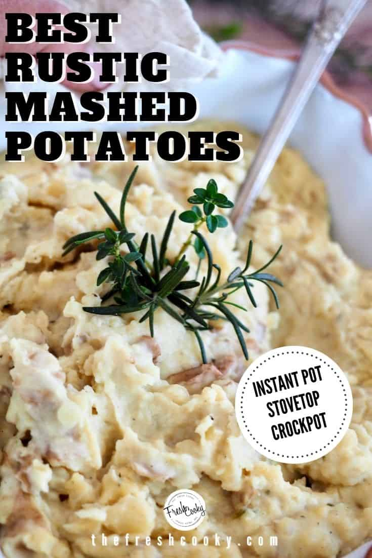 These are the BEST small batch rustic mashed potatoes. Super flavorful with boursin cheese, garlic and cream. Make them in your Instant Pot, Slow Cooker or Stovetop. Perfect small batch size for Sunday dinner or holiday meals. Recipe via @thefreshcooky | #holidaysides #fall #comfortfood #winter via @thefreshcooky