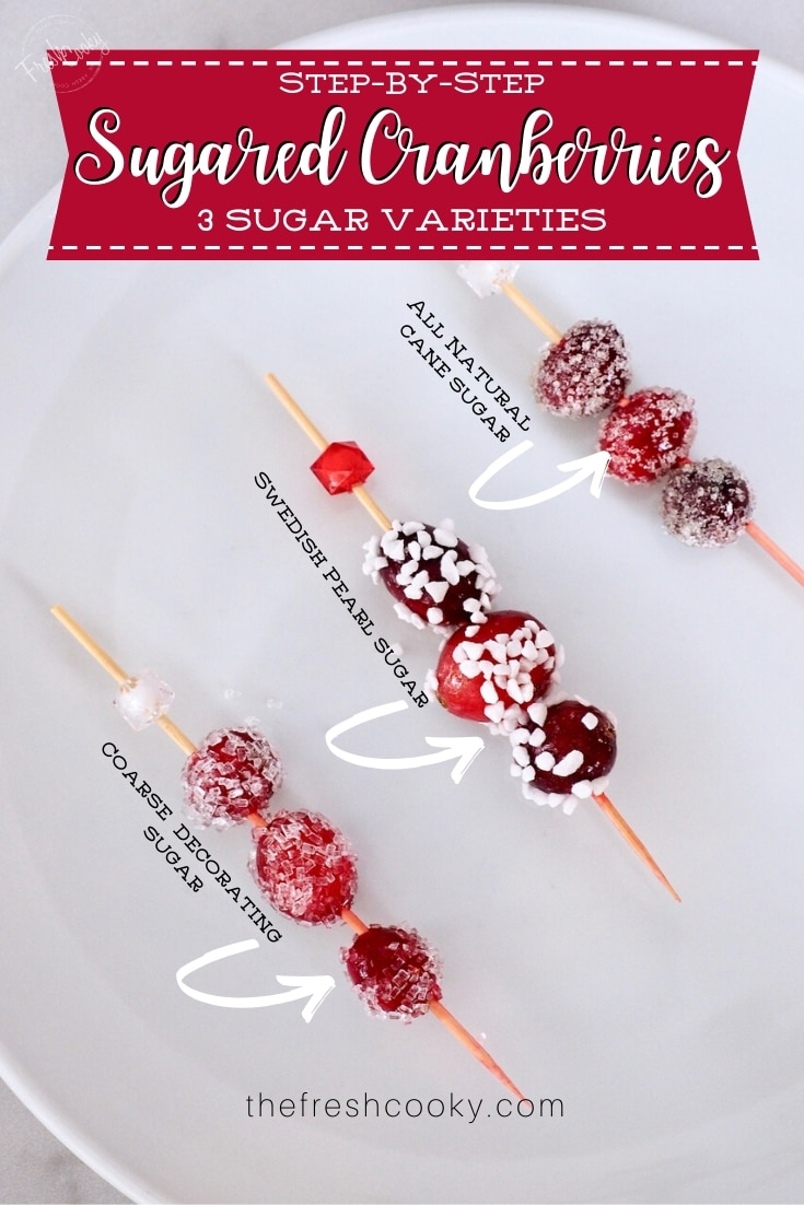Easy step-by-step directions for how to make beautifully delicious Sugared Cranberries. Recipe via @thefreshcooky | #holiday #garnish #cocktail #candied #cranberries #Christmas via @thefreshcooky
