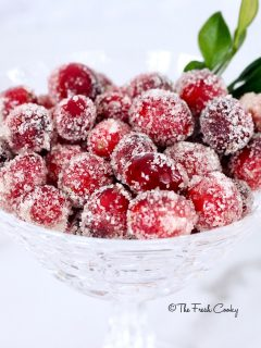 crystal bowl of sugared cranberries | thefreshcooky