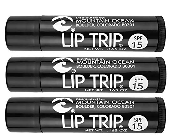 Mountain Ocean Lip Trip SPF 15 Lip Balm (Pack of 3) with Apricot Kernal Oil, Sesame Oil, Aloe Vera and Cocoa Butter, 0.17 oz. each
