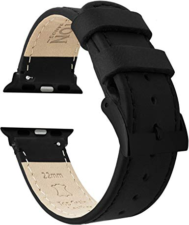 Barton Top Grain Leather Watch Bands Compatible with All Apple Watch Models - Black - Compatible with All Apple Watch Models, Watch 2, Watch 3, Watch 4, Watch 5 - Sizes 38mm, 40mm, 42mm, 44mm