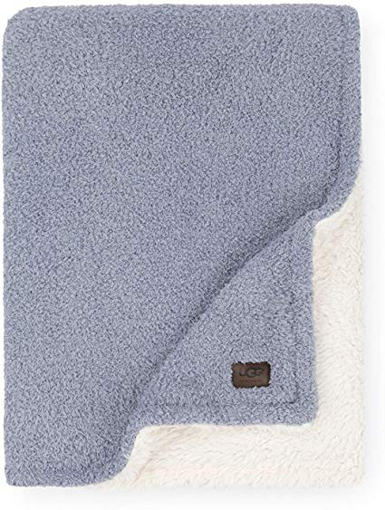 UGG Ana Fuzzy Eyelash Sweater + Sherpa Fleece - Reversible Throw Blanket, Chambray