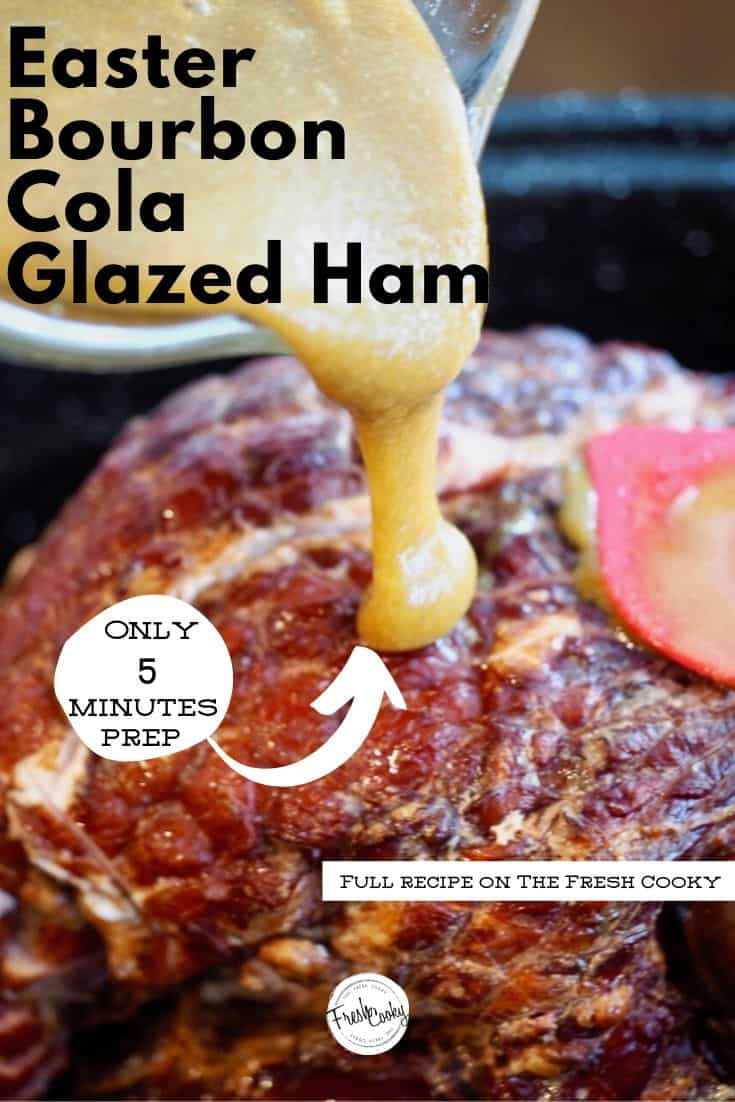 Just 5 ingredients and 5 minutes of prep to this delicious, glazed ham! Your holiday meal has never been so easy! Recipe via @thefreshcooky | #glazed #ham #spiral #baked #easyrecipes #holiday #Christmas #Easter #easyrecipes #5minute #Thanksgiving #bourbon #coke #cola #mustard via @thefreshcooky