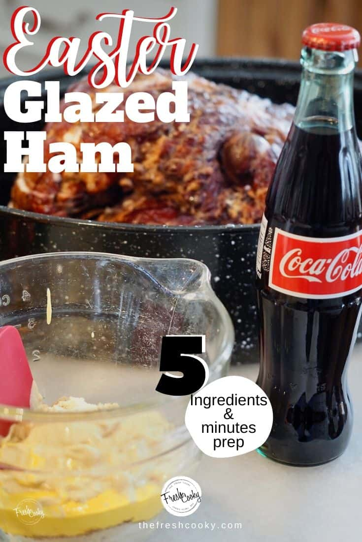 Making a small Easter dinner this year? With just 5 ingredients and 5 minutes of prep you will enjoy this delicious, glazed ham! Your holiday meal has never been so easy! Recipe via @thefreshcooky | #glazed #ham #spiral #baked #easyrecipes #holiday #Christmas #Easter #easyrecipes #5minute #Thanksgiving #bourbon #coke #cola #mustard via @thefreshcooky