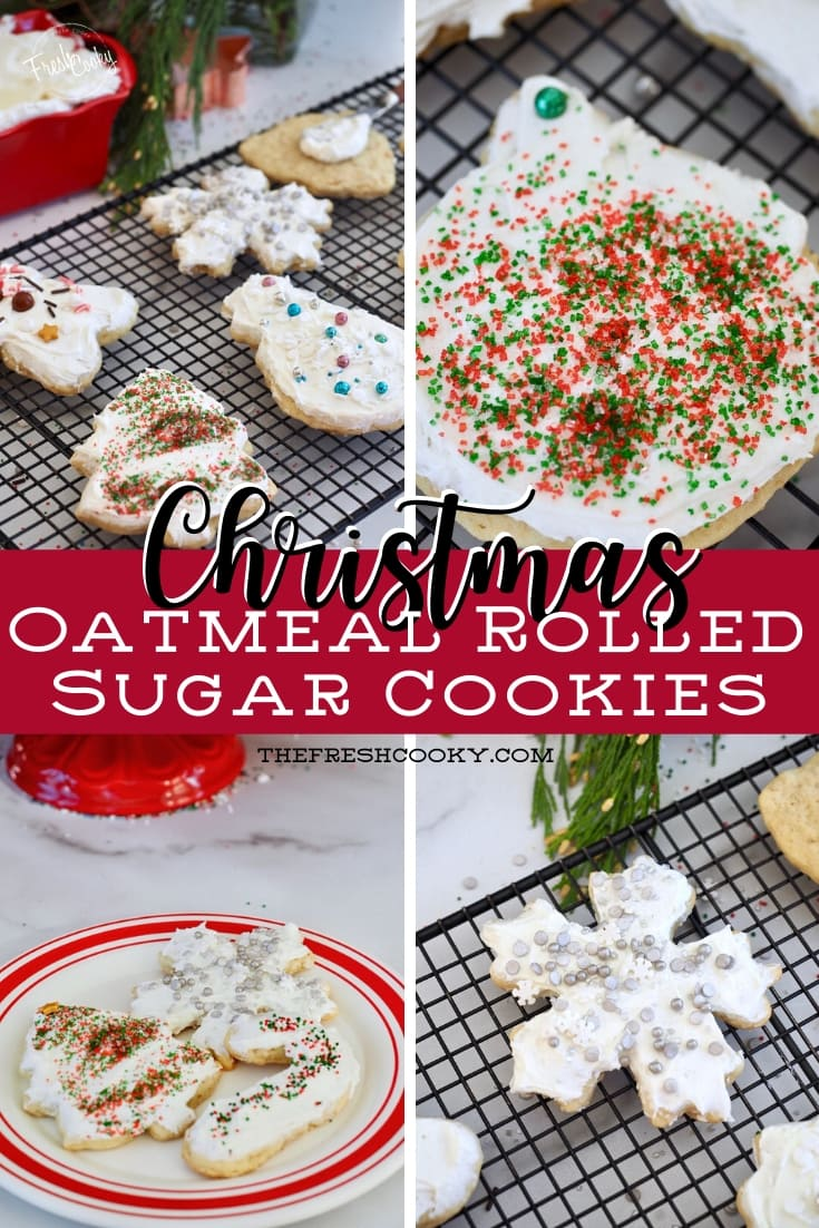 Amazing, chewy Oatmeal Rolled Sugar Cookies! Slightly different from your typical cutout cookie, these are delicious and hold their shape so fun to make and eat! Via @thefreshcooky   #oatmeal #cookies #chewy #rolled #chilled #Christmas #frosted #highaltittude #best #santacookies #cookieexchange via @thefreshcooky