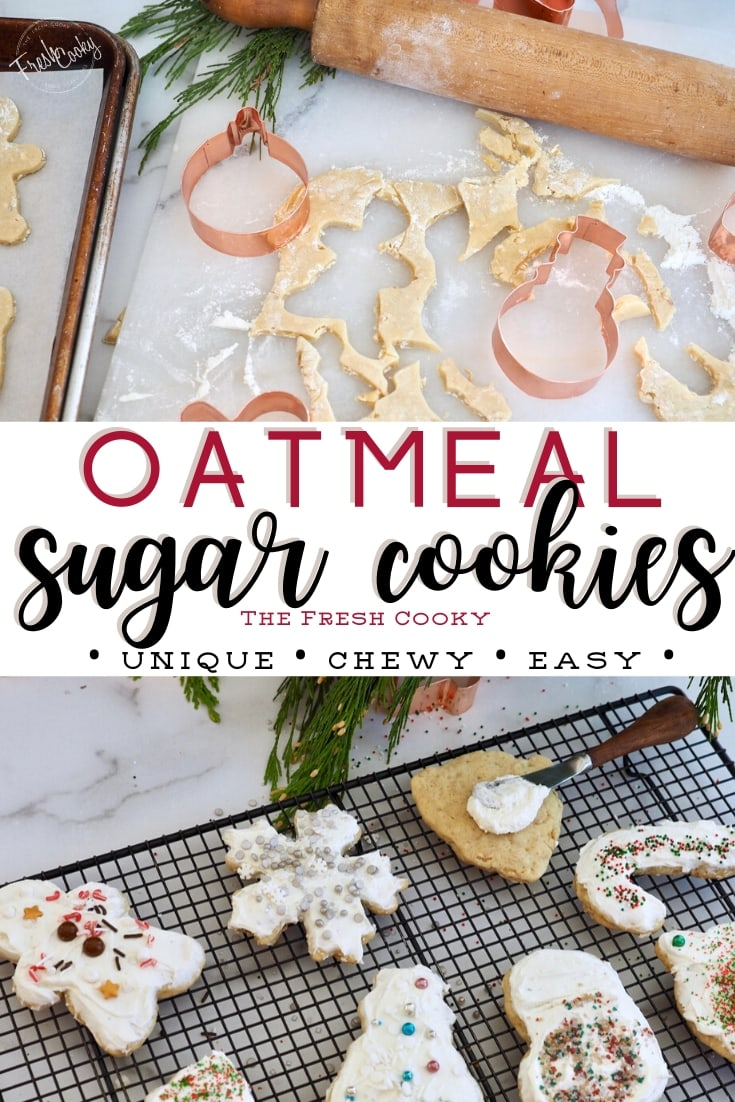 Pinterest image for Oatmeal Sugar Cookies, two images top images using cookie cutters to cut cookies, bottom image frosted and decorated cookies.
