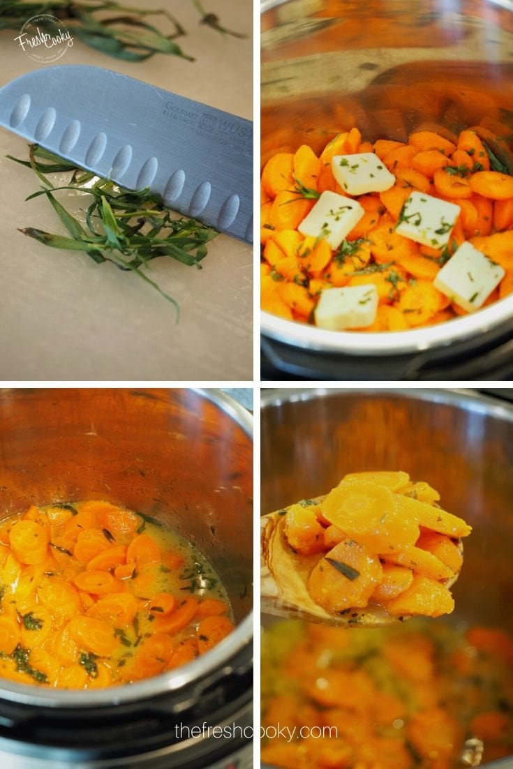 Final process shots for Carrots with tarragon.