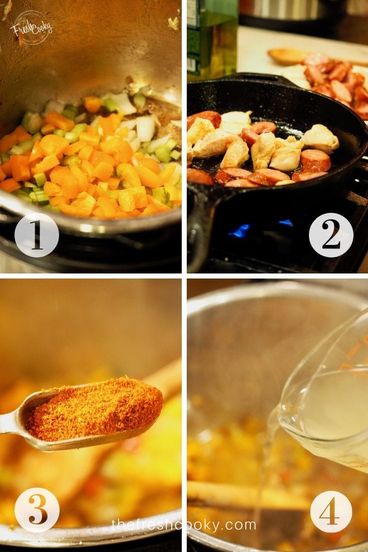 Process image shots, left to right, 1. sauteeing onions, peppers and celery in instant pot. 2. quickly browning chicken and sausage in cast iron pan, 3. adding cajun seasoning. 4. pouring in chicken broth.