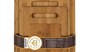 Bambusi Natural Bamboo Cutting Board Set - 4 Piece Kitchen Chopping Boards with Juice Groove for Meat, Cheese and Vegetables - Wooden Carving Serving Tray