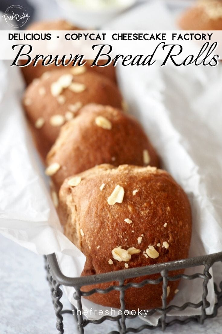 Pinterest image for delicious copycat cheesecake factory brown bread rolls