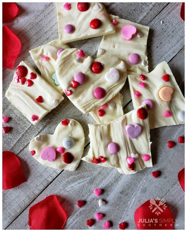 Easy Valentine White Chocolate Bark