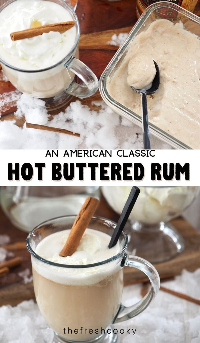 Easy butter batter that makes a large quantity to have on hand all winter for Hot Buttered Rum. This American Cocktail is the best warm winter drink! Make for apres skiing, skating, sledding or just to warm you! Non-Alcholic option included! Recipe via @thefreshcooky | #withicecream #butter #rum #brownsugar #largebatch #freezer #easy #recipe #gift #mocktail #hotcider #hotwater #foracrowd #traditional #gift via @thefreshcooky