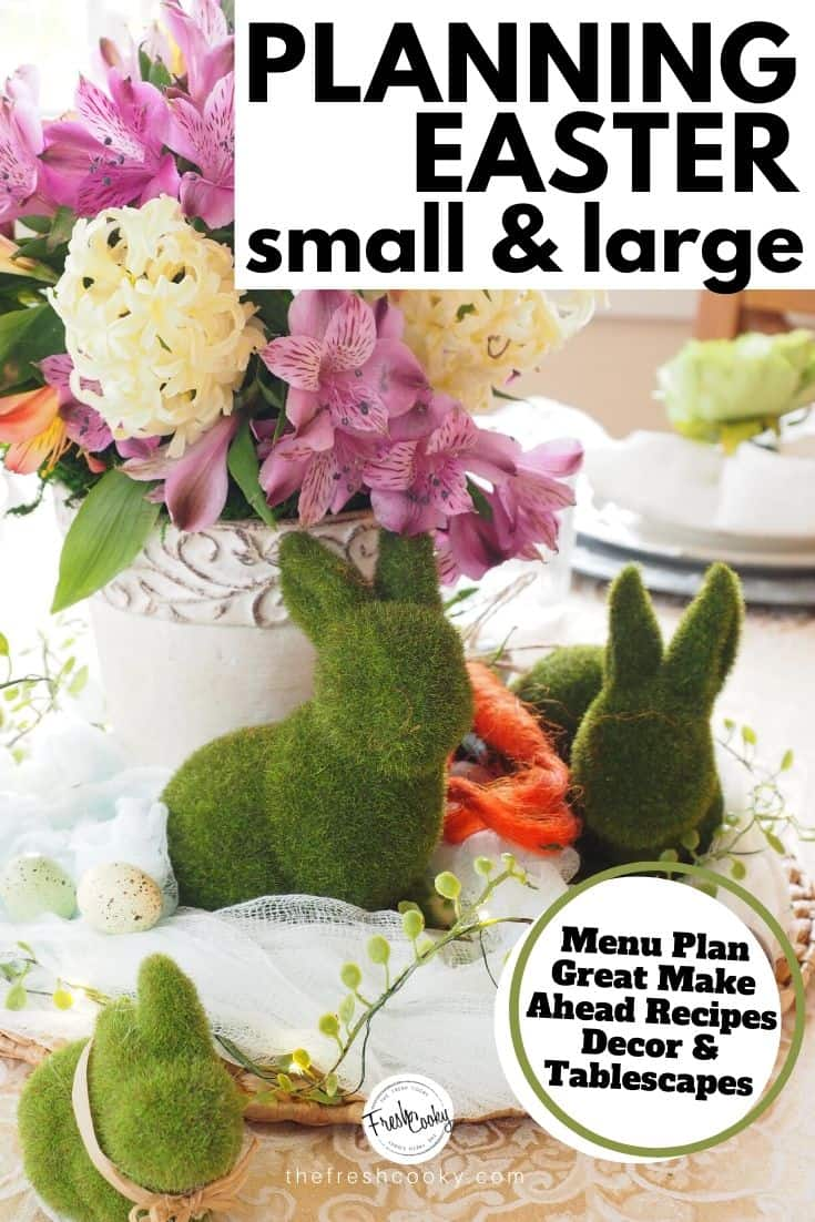 How to Plan Easter whether large or small, for a crows or for a few. Menu ideas, decor, taplescapes and simple and easy recipes. Via @thefreshcooky | #Easter #plan #spring #decor #menu #mimosabar ##howto #plan #dinner #ideas #brunch #Easter #mothersday #showers #bridal #ladiesluncheon #easyrecipes via @thefreshcooky