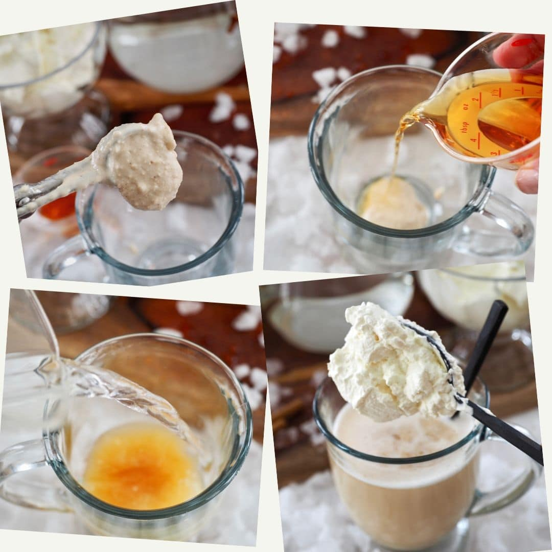 Process shots for making hot buttered rum. 1. Add batter to mug. 2. add rum 3. pour in hot water. 4. add whipped cream.
