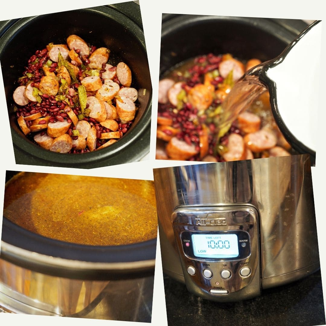 Process shots of making Red Beans and Rice, sausage, beans, veggies in slow cooker