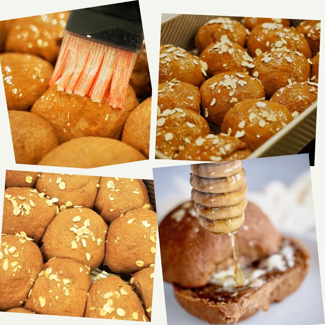 Process shots. 1. Brushing butter on baked rolls. 2. sprinkling a little dry oats on top of brown bread rolls. 3. baked brown bread rolls in pan. 4. A drizzle of honey on a buttered brown bread roll