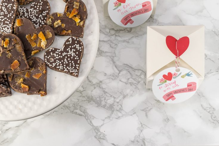 Valentine's Day Chocolate Bark and Gift Tag Printable