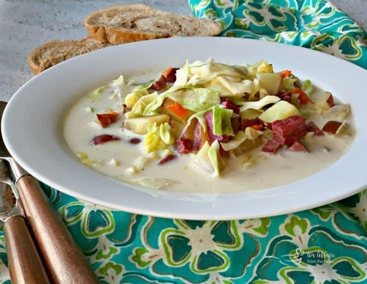 Creamy Corned Beef & Cabbage Soup - perfect for leftover Corned Beef!